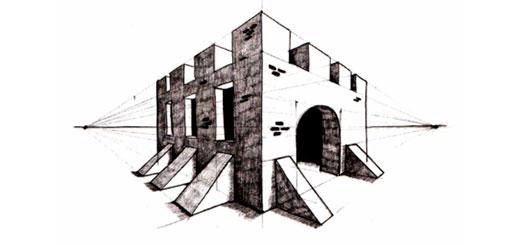 Угловая перспектива на примере замка