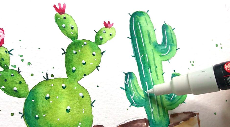 как нарисовать кактус акварелью
