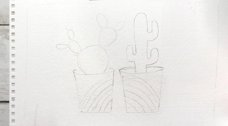 как нарисовать милый кактус карандашом