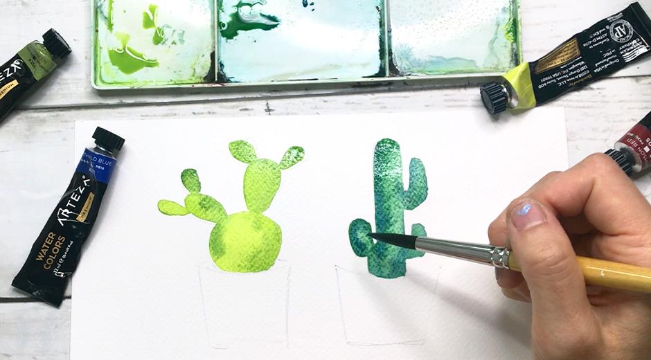 как нарисовать милый кактус